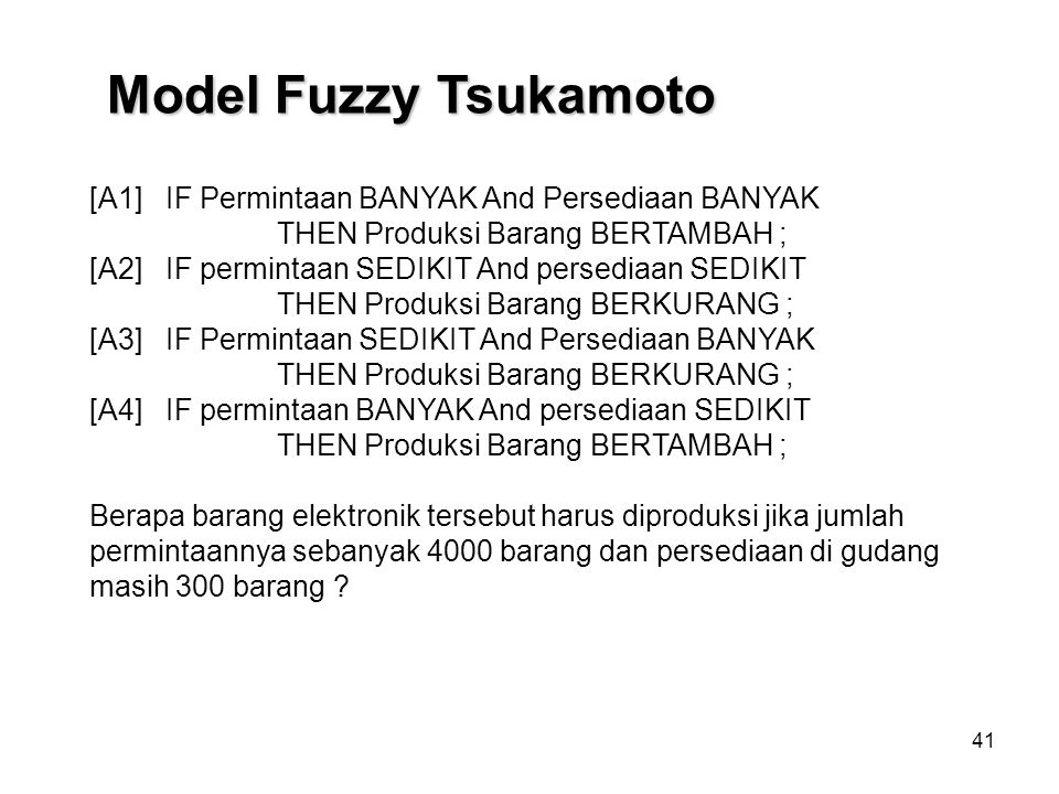 Model Fuzzy Tsukamoto [A1] IF Permintaan BANYAK And Persediaan BANYAK